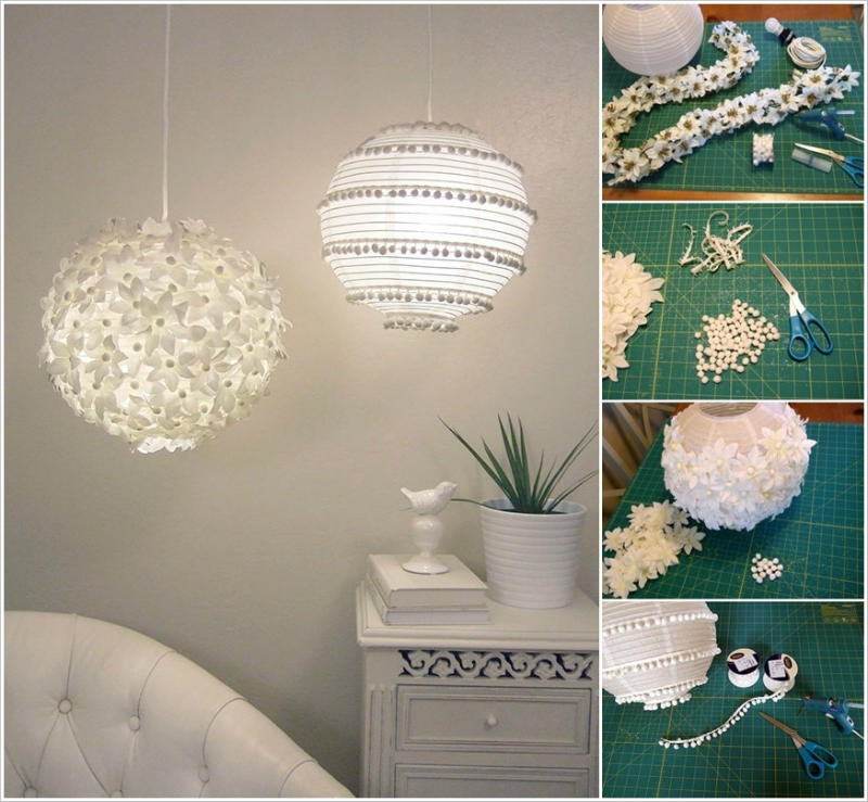 Pendant lamps with paper decorations