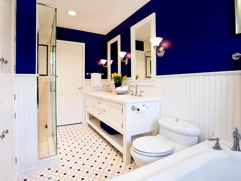bathroom decorating ideas using dark blue and white wall paint combination with white furniture and tile floor plans