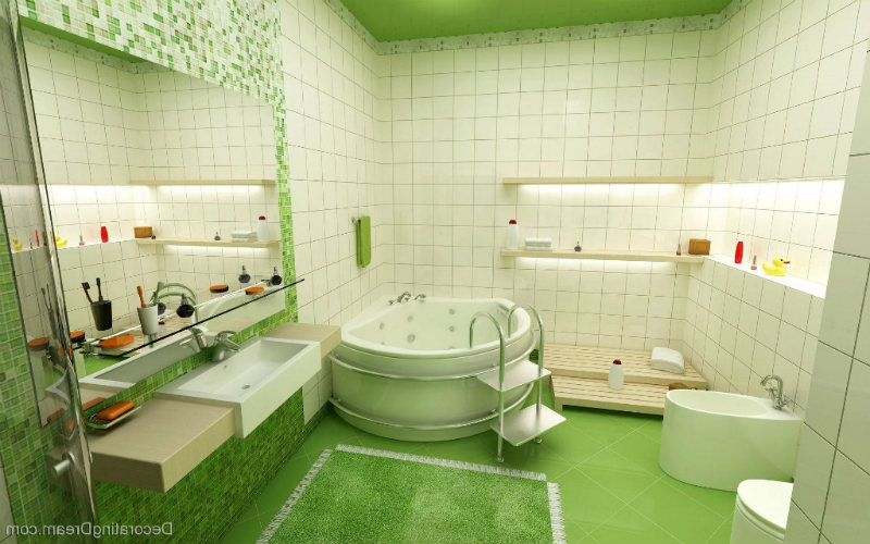 bathroom decorating white round bath green floor combined sink feat large mirror wall color wonderful wall lamp abstract painting ceiling lamp