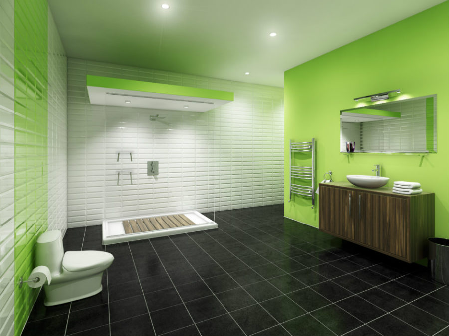 charming green and white bathroom wall color schemes combined with black tiles flooring and toilet plus shower stall as well as beautiful white ceramic