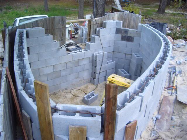 concrete filled cinder blocks