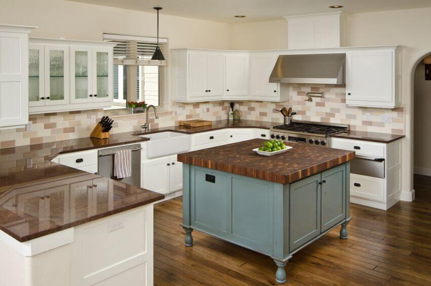 countertops with white cabinets and the chocolate brown granite