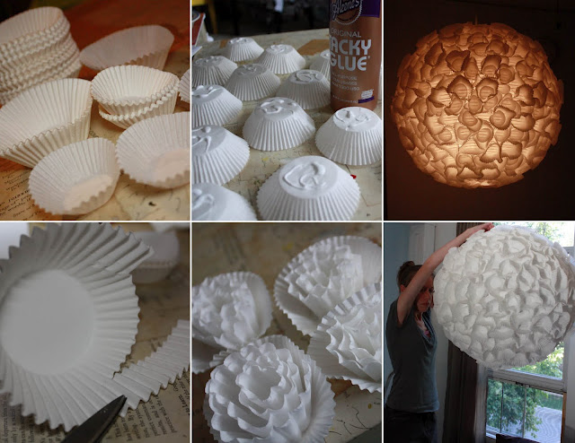 diy chandelier sphere realized with paper cups