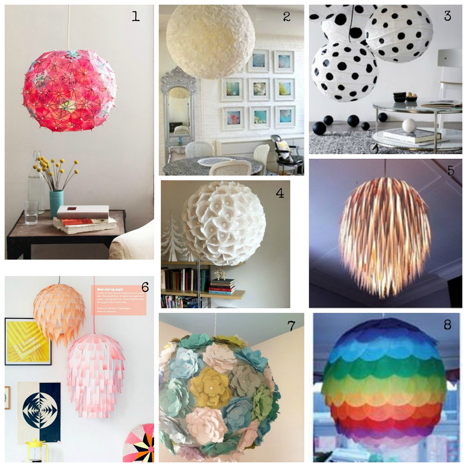 diy paper lamps, many colorful ideas and imagination