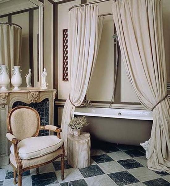 install bathroom curtain on the shower