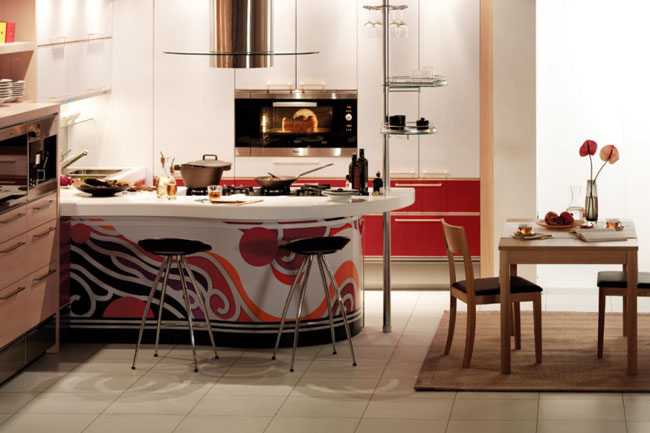 kitchen interior decorating with colorful red, white and black for kitchen