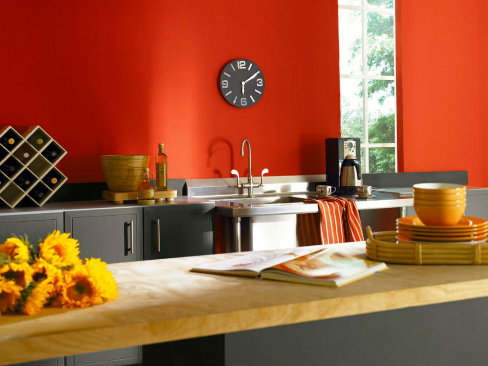 kitchen wall paint colors with red of shades