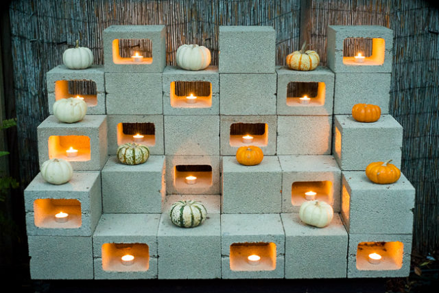 polystyrene foam sculpture blocks with a decorative candles and watermelons