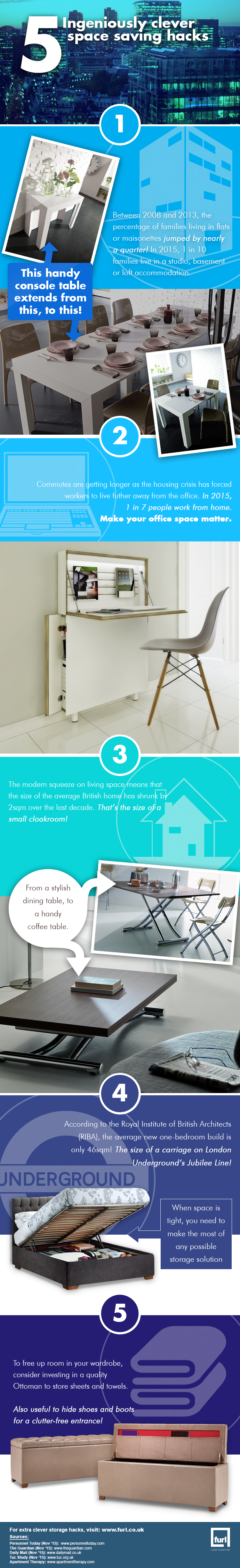 Try These 5 Cool Space Saving Hacks [Infographic]
