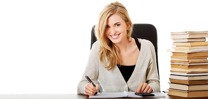 Happy woman preparing to exam.